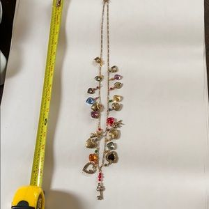 Multicolored heart and key necklace